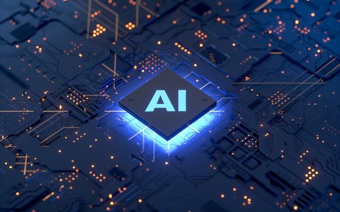 AI semi-conducteur bleu brillant.