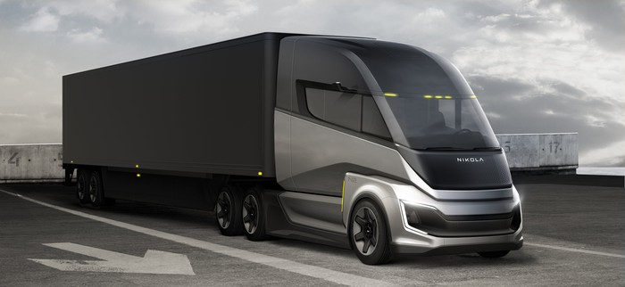 Nikola Two fuel cell electric semi truck and trailer.