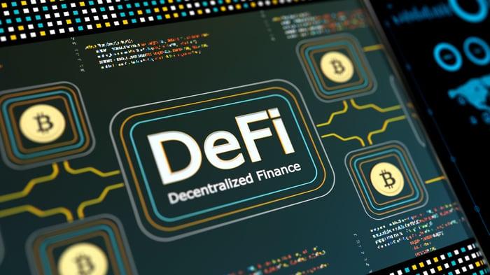 Digital dashboard displaying: DeFi.