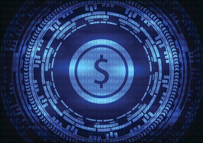 Blue digital currency symbol.