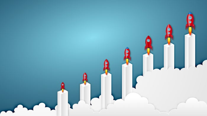 rising bar chart with red rockets on each bar symbolizing stock rocketing higher.