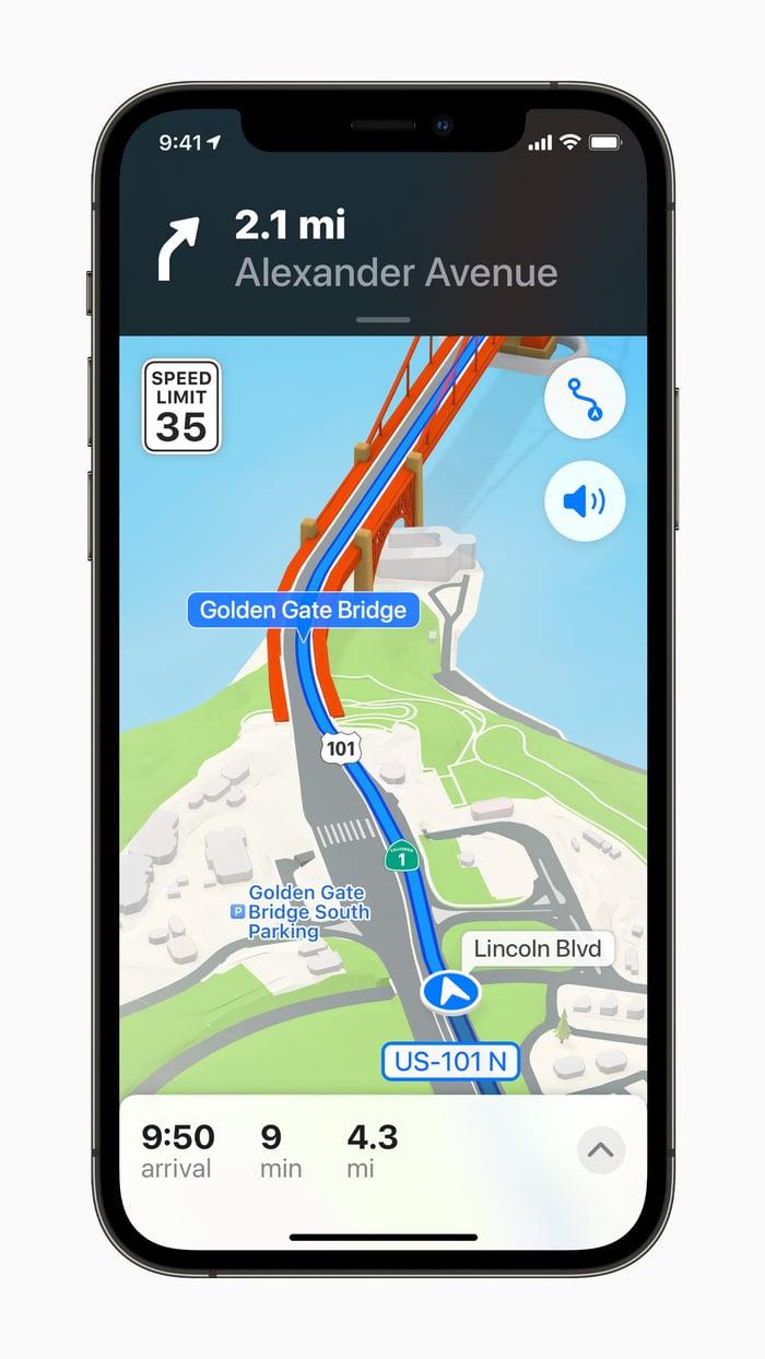 Apple Maps app on an iPhone.