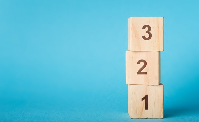 Wooden blocks stacked in descending order, from 3 to 1.