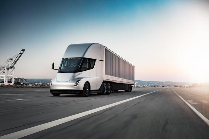 A Tesla Semi on the road.