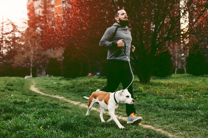 A person wearing athletic wear and running outside with a dog.