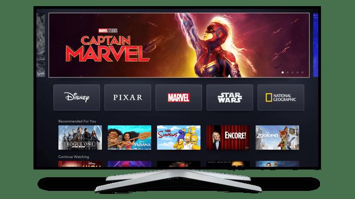 Disney+ shown on a smart TV.