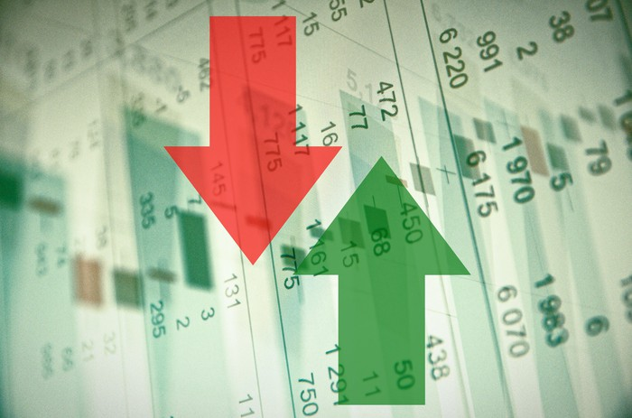 A red arrow pointing down and a green arrow pointing up are superimposed over a stock chart.