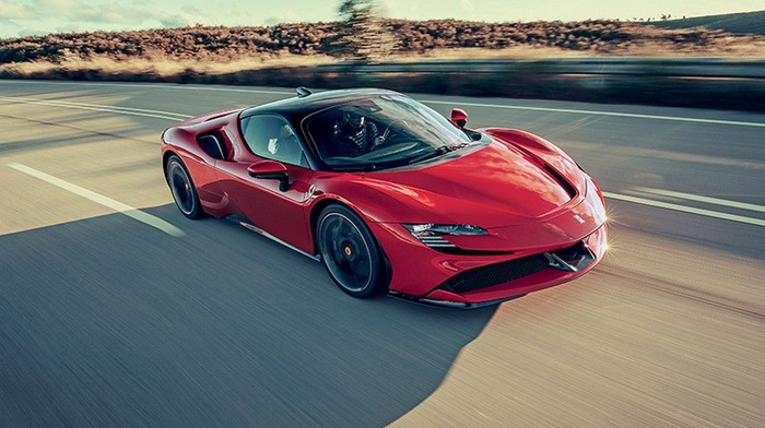 Ferrari's SF90 Spider plug-in hybrid in red