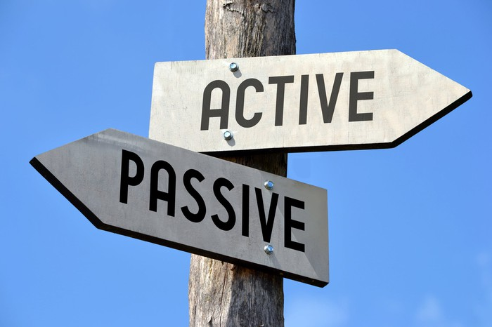 Sign point toward active and passive in different directions
