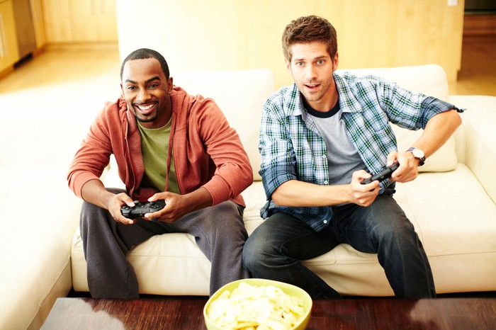 Two people playing a video game.