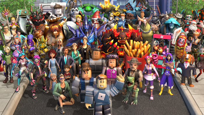 A lineup of Roblox characters.