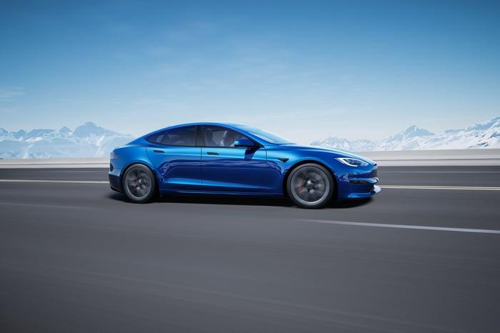 Blue Tesla Model S.