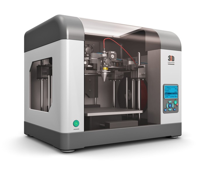 A 3D printer on white background.