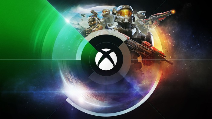 The Xbox logo surrounded by various Microsoft video game characters and images.