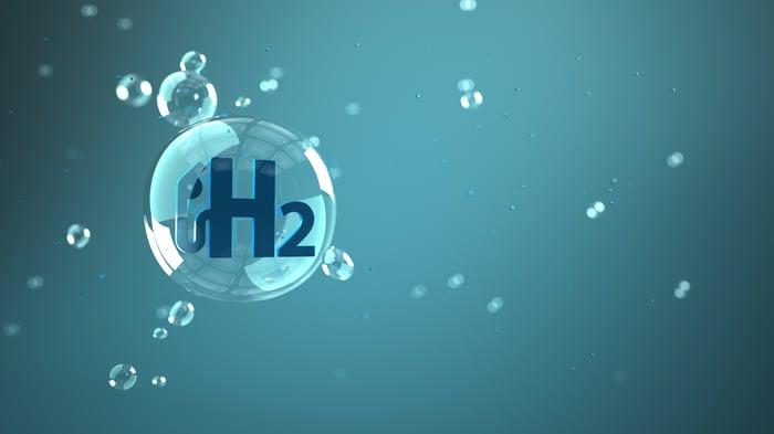Hydrogen molecule in a bubble floating in the air.