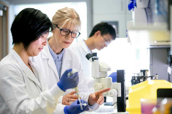 Three researchers work in a lab.