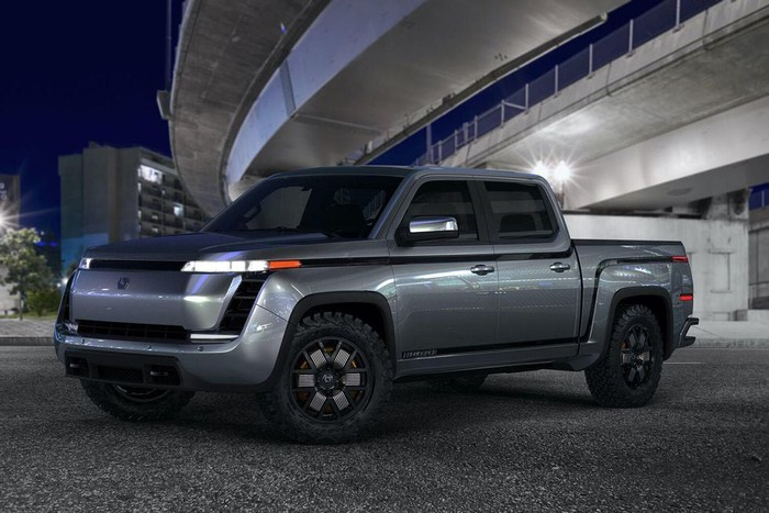 A blue-gray Lordstown Endurance, an electric pickup truck.