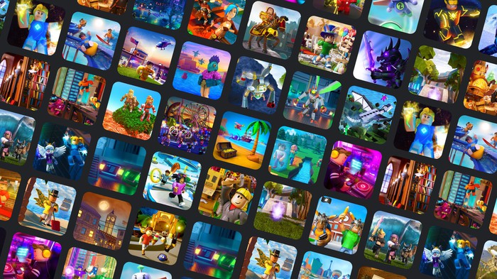 A mosaic of Roblox games.