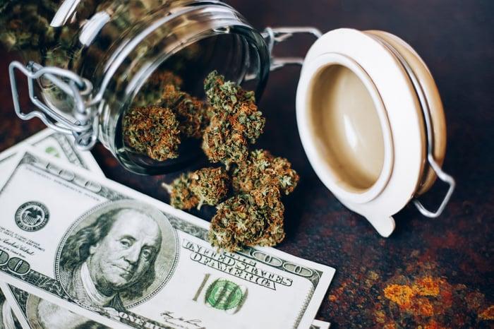 Jar of marijuana buds and $100 bills.