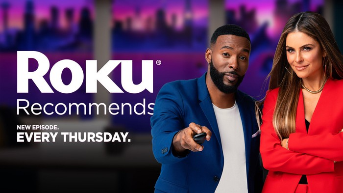 Co-hosts Maria Menounos and Andrew Hawkins, starring in TV show Roku Recommends.