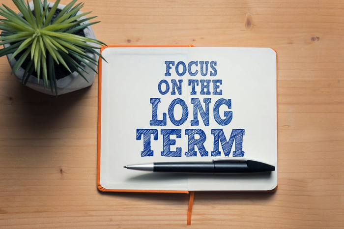 """A notepad that reads """"focus on the long term."""""""