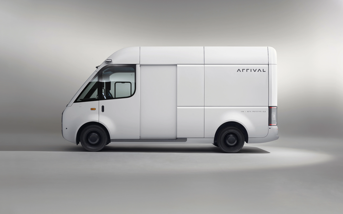 White Arrival electric delivery van.