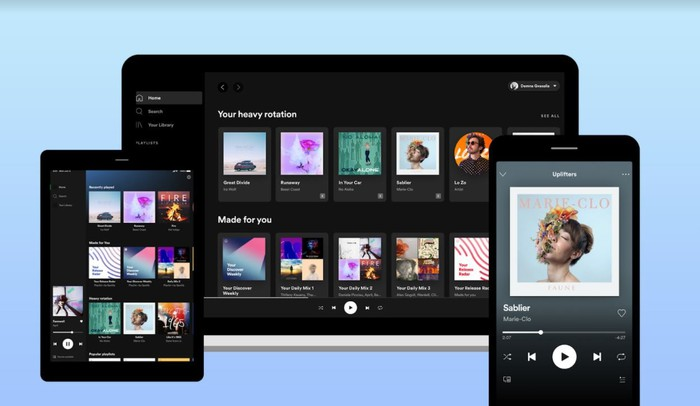 The Spotify application on different devices.