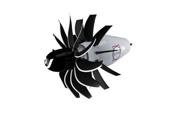 A rendering of a CFM RISE open fan engine.