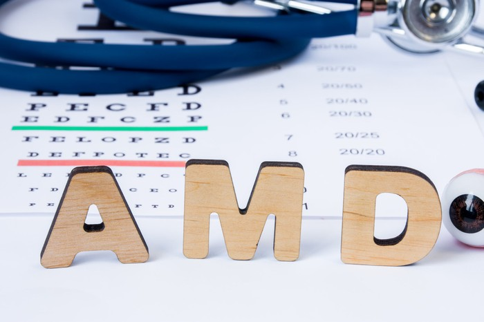 Wooden letters spelling AMD on top of an eye chart.