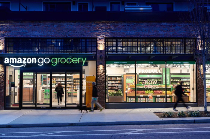 The exterior of an Amazon Fresh Grocery store.