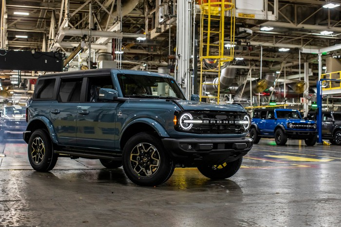 A blue four-door Ford Bronco, an off-road SUV, at Ford's Michigan Assembly Plant near Detroit.