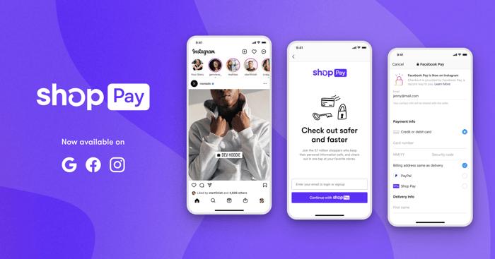 Shopify a annoncé cette semaine qu'il déployait Shop Pay pour tous les marchands sur Facebook, Instagram et Google cette année.