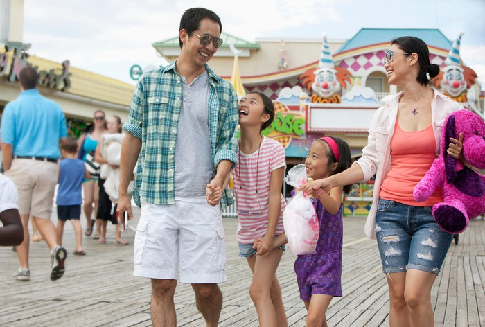 A family at a theme park.