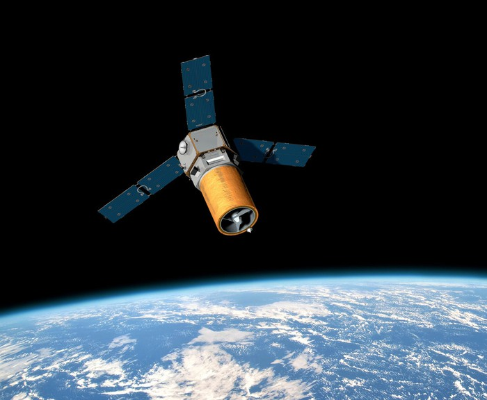 Rendering of the RapidStar-2 satellite in orbit.