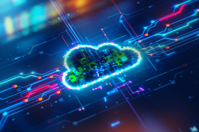 An illustration of a digital cloud on a circuit board.
