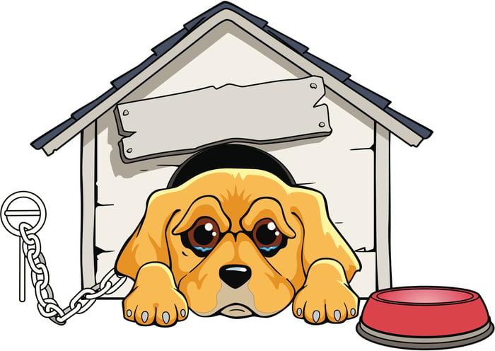 Sad cartoon dog in a doghouse