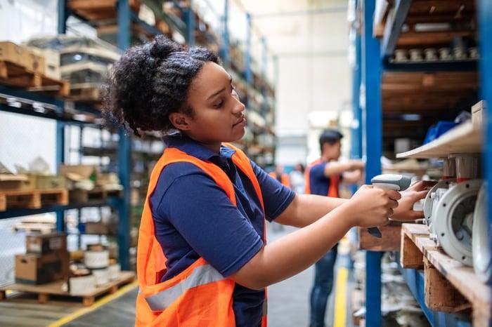 An employee in a warehouse.