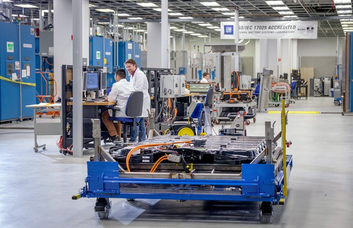 Workers in a lab testing electric vehicle batteries.