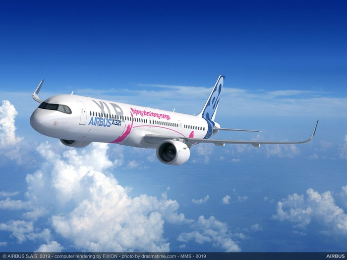 A rendering of an Airbus A321XLR in flight, with clouds in the background.
