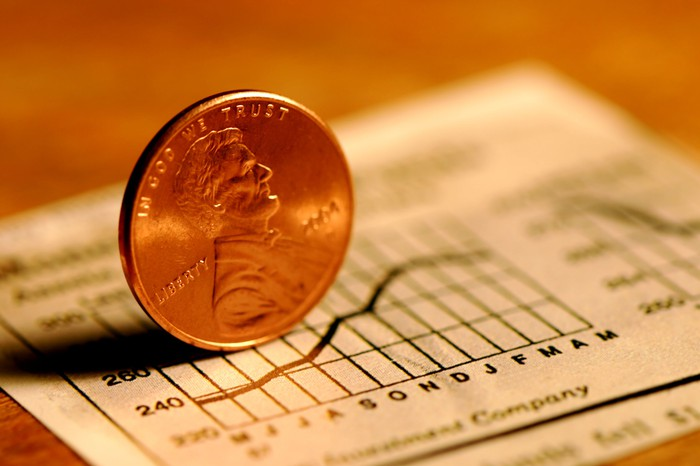 A penny standing on its side atop a newspaper clipping that depicts a rising one-year chart.