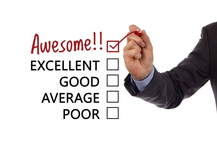 A hand checking a box next to the word Awesome on a list that also includes Poor, Average, Good, and Great.