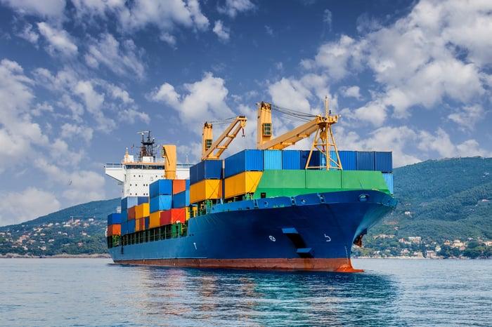 A cargo ship at sea.