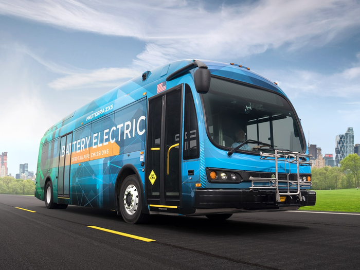 Proterra ZX5 battery electric bus on road.