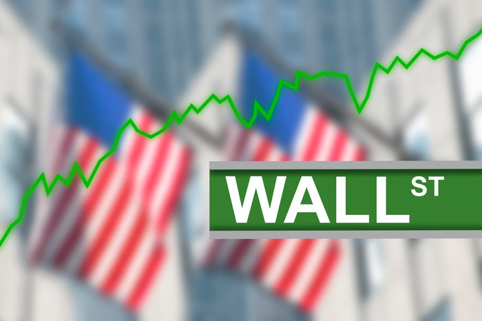 Wall Street sign with U.S. flags in the background and a green stock chart trending up.