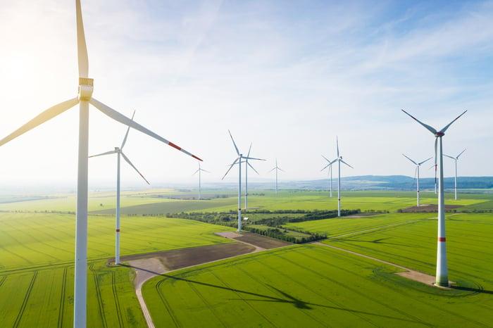Wind turbines in a large field.