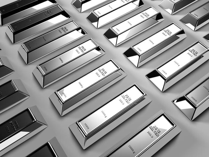 Rows of silver ingots.