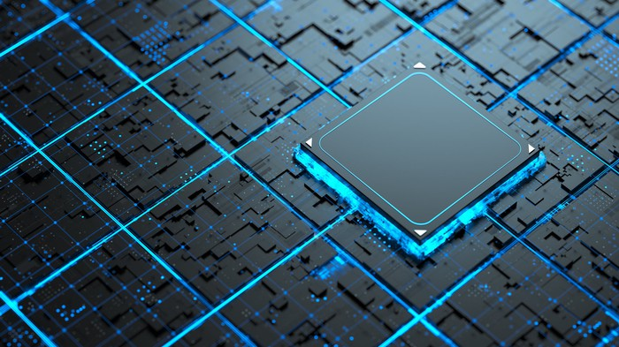 A computer chip on a circuit board.