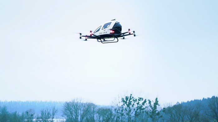 The EH216 aerial vehicle flying.