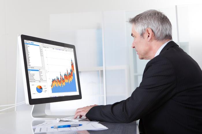 Investisseur regardant un écran d'ordinateur avec des graphiques et des données.