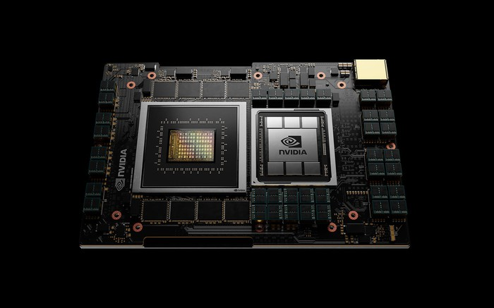 A central processing unit with NVIDIA corporate logo printed on the side.